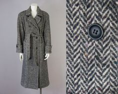 80s Vintage Charcoal Speckled Wool Belted Wrap Coat. Winter Jacket (M) by vintageonlythebest on Etsy