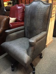 Gray gator embossed leather office chair