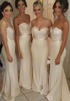Ivory Bridesmaid Dress - Sweetheart neckline with sequined top, satin belt sash, and spandex bottom in a sheath column silhouette.