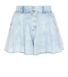 Pale Blue Acid Wash Denim Culottes