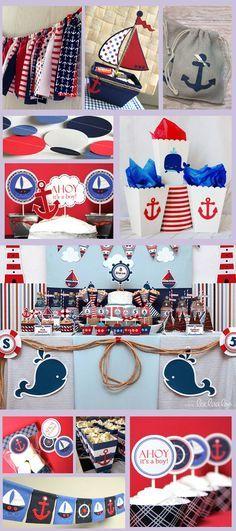 Ideas For Baby Shower Boy Theme Sailor - Baby Shower Decorations Fiesta Baby Shower, Boy Baby Shower Themes, Baby Shower Parties, Baby Boy Shower, Sailor Theme Baby Shower, Shower Party, Sailor Birthday, Baby Birthday, Baby Showers Marinero