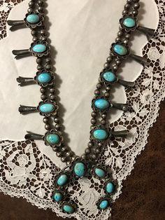 Harry Yazzie Navajo Squash Blossom Necklace