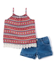 Red Chiffon Top & Denim Shorts - Toddler & Girls