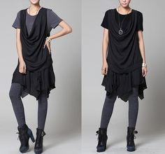 2 Colors-Two-piece Black/Gray Top Round Neck Chiffon Shirt Short Sleeve Summer Blouse Asymmetric Tunic Top Clothing Dresses