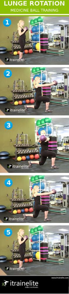 "Lunge rotation exercise from: ""The Benefits of Medicine Ball Workouts"""