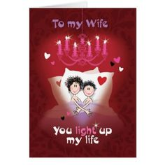 Lesbian Valentine Wife Fun Couple in Bed Card - romantic gifts ideas love beautiful