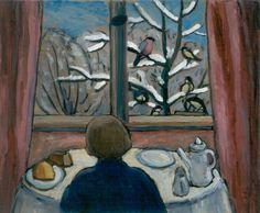 """Gabriele Münter, """"Breakfast of the Birds"""", 1934, oil on board, 18 x 24 3/4 in., National Museum of Women in the Arts"""