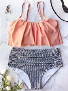 Swimwear Type: Bikini Gender: For Women Material: Nylon,Polyester Bra Style: Padded Support Type: Wire Free Collar-line: Spaghetti Straps Pattern Type: Striped Waist: High Waisted Elasticity: Elastic Weight: Package: 1 x Bra 1 x Briefs Plus Size Swimsuits, Cute Swimsuits, Bikini Volante, Bikinis Lindos, Flounce Bikini, Bikini Swimsuit, Summer Fashion For Teens, Bikinis For Teens, Bandeau Bikini