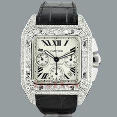 Cartier Santos 100 Mens Custom Diamond Watch 13.00ct