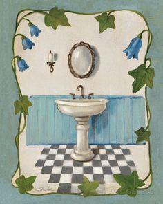 Bell Flower Bath II on Ivory アートプリント