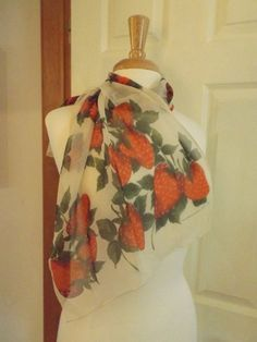 Beautiful Strawberries ECHO Sheer Long Scarf  by MainelyScarves