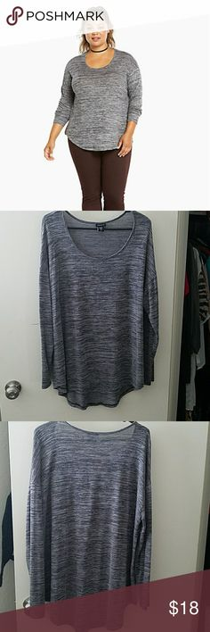 "*TORRID* Hacci Knit Tunic The grey hacci knit design borders on buttery, and relaxes with a longer tunic length. A scoop neck gets it just right.  29"" from shoulder. Very light weight! Perfect for winter to spring transition. torrid Tops Tunics"