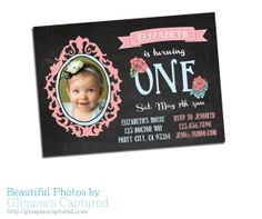 Chalkboard birthday Template card frame flower photography photo photographer chalk board invite invitation one 1st PHOTOSHOP USERS ONLY