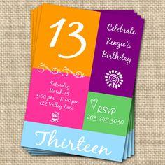 13th birthday party invitation girl birthday invitation digial 13th birthday invitation digital file sweet by fancyshmancynotes 1500 filmwisefo Gallery