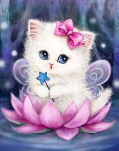 Cartoon Cat – Simple DIY Diamond Painting Kits - Cats and Dogs House Cute Animal Drawings, Cute Drawings, Baby Animals, Cute Animals, 5d Diamond Painting, Cute Wallpapers, Cat Art, Cute Cats, Easy Diy