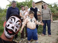 Only The Insane Clown Posse Can Help This Kid In This Picture: Photo of kid and with silverware and juggalo shopped in