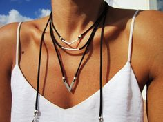 Wrap Leather necklace, layered necklace set, layered necklace silver with with bohemian ethnic silver pendants, tribal boho jewelry, ethnic necklace, An everyday fashion jewelry !! necklaces for women, bohemian jewelry, personalized leather jewelry, original designs by kekugi. This necklace is