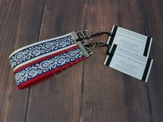 Red, Ivory, Blue Damask Ribbon Wristlet Key Chain - Ribbon Key Ring - Preppy Key…