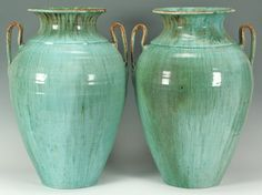 Pair of Chinese Glaze Seagrove NC Pottery Vases attributed to Waymon H. Cole.