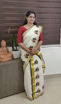 Design your dreams. Saree Painting Designs, Fabric Paint Designs, Kerala Saree Blouse, Onam Saree, Hand Painted Sarees, Aunty In Saree, Beautiful Women Over 40, Indian Girls Images, Beauty Full Girl