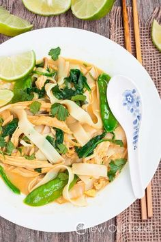 Thai Coconut Curry Chicken Noodle Soup