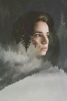 Misty forrest portrait // Double exposure