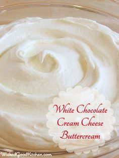 White Chocolate Cream Cheese Buttercream by WickedGoodKitchen. ~ Ivory buttercream made with white chocolate, cream cheese, butter and lemon juice. Perfect for frosting cheesecakes! Cupcake Frosting, Cake Icing, Cupcake Cakes, White Chocolate Frosting, White Chocolate Buttercream Frosting, 12 Cupcakes, Wicked Cupcakes, Buttercream Ideas, Wedding Cake Frosting
