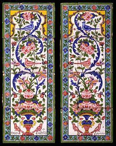 Two panels of earthenware tiles painted with polychrome glazes over a white glaze.  Qajar art, from the Qajar Dynasty of the late Persian Empire (1781-1925).