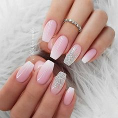 33 Gorgeous nail art design Ideas that perfect for any occasion - pink nails nail jenner nail wedding nail nail nail nail Pink Ombre Nails, Pink Nail Art, Glitter Nails, Baby Pink Nails With Glitter, Wow Nails, Cute Nails, Best Acrylic Nails, Acrylic Nail Designs, Bride Nails