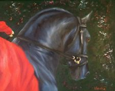 Nicolae Art Nicole Smith Artist Equine Horse oil painting original Friesian Red