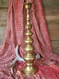Vintage large brass candlestick holder Moroccan by BlestIndustrial