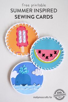 A free fun set of three little summer holiday inspired sewing cards your children will love. Just download and print. Great take-along activity for road trips.
