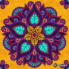 The mandalas has many pretty poppy colors, with a relaxing back ground. Mandalas Drawing, Mandala Painting, Dot Painting, Stone Painting, Zentangles, Mandala Pattern, Mandala Design, Coloring Books, Coloring Pages