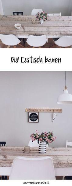 Esstisch selber bauen - DIY Möbel und Wohnen. Esstisch aus Holz - wohnen skandinavisch minimalistisch. #selbstgebaut #skandinavisch #schlichteswohndesign