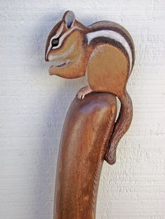 Wood Carved Chipmunk Walking Stick