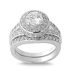 Silver wedding ring sets cubic zirconia