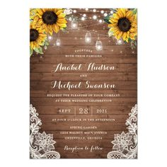 Rustic Wood Sunflower String Lights Lace Mason Jar Invitation - tap/click to personalize and buy #Invitation  #rustic #string #lights #floral #invitation Mason Jar Wedding Invitations, Sunflower Wedding Invitations, Wedding Party Invites, Country Wedding Invitations, Beautiful Wedding Invitations, Elegant Wedding Invitations, Wedding Invitation Cards, Wedding Stationery, Wood Invitation