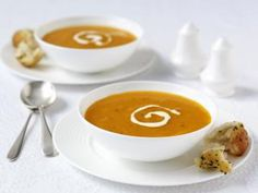 Carrot and Coriander Soup Recipe : Cook Vegetarian Magazine (mother in law is vegetarian) Carrot And Corriander Soup, Coriander Soup, Carrot And Coriander, Coriander Cilantro, Carrot Soup, Vegetarian Magazine, Vegetarian Cooking, Vegetarian Recipes, Cooking Recipes