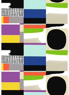 Marimekko Komuutti Multicolor Fabric Graphics are worked into an unexpected grid in Jenni Tuominen's Kontti pattern and featured on the Marimekko Komuutti Multicolor Cotton Fabric. Made from cotton, this durable fabric is printed in .