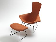 """Harry Bertoia (Knoll International), """"Bird"""" Lounge Chair and Ottoman (after Midcentury Harry Bertoia, Charles Eames, Vintage Furniture Design, Nice Furniture, Butterfly Chair, Vintage Chairs, Chair And Ottoman, Mid-century Modern, Upholstery"""