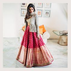 When you have Banarasi silk lehenga, you don't need too much else! And these latest Banarasi lehenga designs are going to prove just that! Yep, if you are a fan of Banarasi as much as we are, then get. Lehenga Anarkali, Jacket Lehenga, Lehnga Dress, Pink Lehenga, Brocade Lehenga, Banarasi Lehenga, Indowestern Lehenga, Bridal Lehenga, Chaniya Choli For Navratri