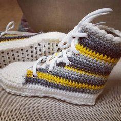 Kiddy Sneakers (February '17) #ninamarie_fi #crochet #crochetaddicted #doublesole #virkkaus #virkkaushullu #novita