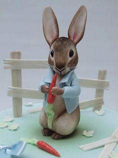 Terrific Peter Rabbit First Birthday Cake Peter Rabbit Cake, Peter Rabbit Birthday, Peter Rabbit Party, Fondant Rabbit, Beatrix Potter Cake, Christening Cake Boy, 4th Birthday Cakes, Fondant Animals, Baby Shower Cakes For Boys