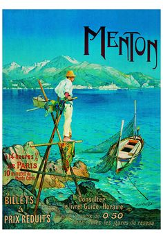beautiful Vintage French Travel Poster Menton Mer Montagne by Lessieux France Art Print, on eBay