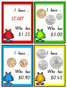A classic game, this time with AUSTRALIAN COINS! This file includes 36 game cards for your students to play with. Numeracy Activities, Money Activities, Money Games, Math Resources, Educational Activities, Math For Kids, Fun Math, Math Games, Teaching Money