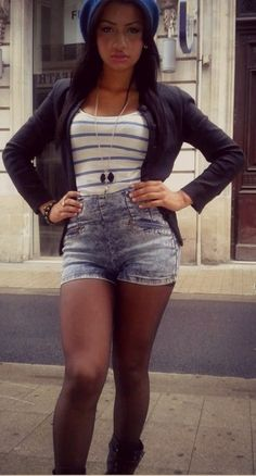high wasted denim shorts and strips up top: so cute.