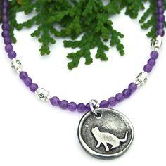 Kitty Cat Pendant Necklace, Purple #Amethyst Gemstone Pewter Trendy #Handmade Feline #Jewelry by @shadowdog #ShadowDogDesigns #Butterflyspin #Indiemade - $45.00  #cat #necklace - SOLD
