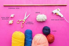 How to Make This Ridiculously Adorable Pom-Pom Tassel Wall Hanging – Brit + Co Diy Picture Frames On The Wall, Boho Deco, Pom Pom Maker, How To Make A Pom Pom, Yarn Wall Hanging, Fabric Scissors, Craft Stick Crafts, Diy Crafts, Yarn Colors