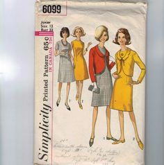 1960s Vintage Sewing Pattern Simplicity 6099 Junior Misses One Piece Dress and Jacket Size 13 Bust 33 60s