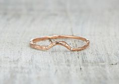 Curved Calais Band - Gold or Platinum Contoured Twig Wedding Band with Diamonds